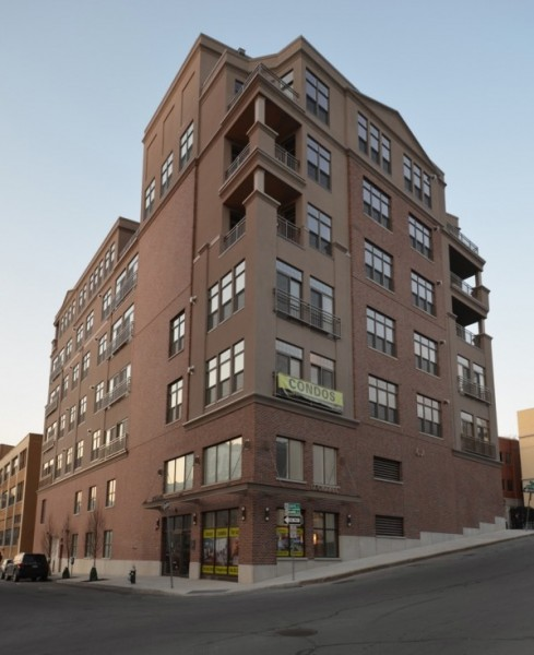 exterior of the luxury condominiums in dowtown albany complete
