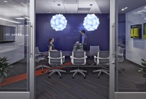 More traditional conference room, but with glass panels and no whiteboard necessary.
