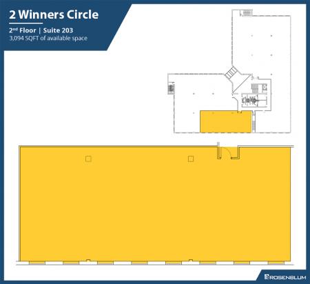 3,094 SF 2nd Floor Office Space Floor Plan