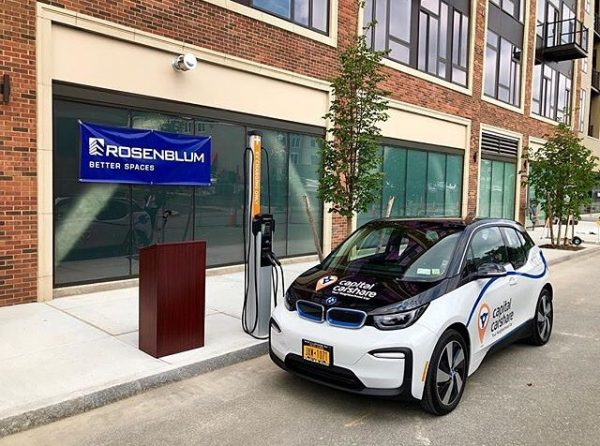 Capital CarShare's BMW i3 parked on 6th Ave in downtown Troy, NY.