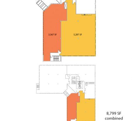 3,367–8,799 SF 2nd Floor Office Space Floor Plan