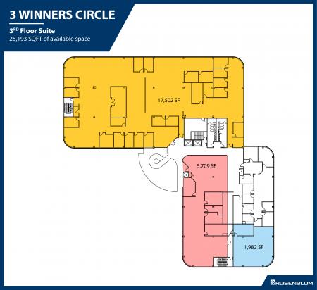 1,982–25,193 SF 3rd Floor Office Space Floor Plan