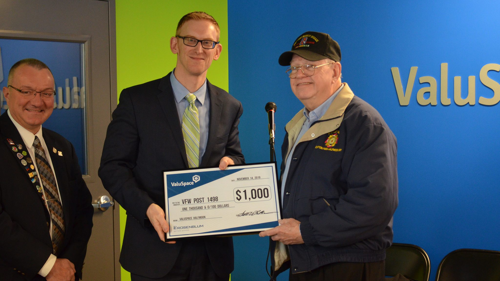 ValuSpace Check Presented to VFW
