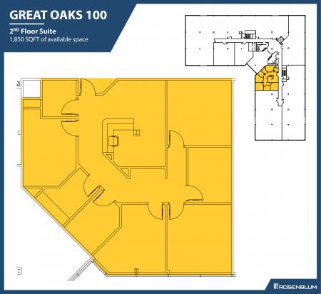 1,850 SF 2nd Floor Office Space Floor Plan