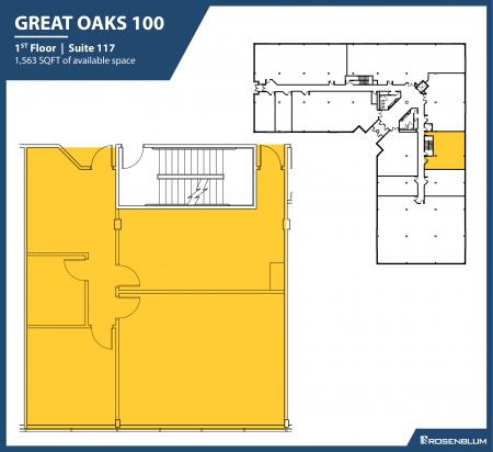 1,563 SF 1st Floor Office Space Floor Plan
