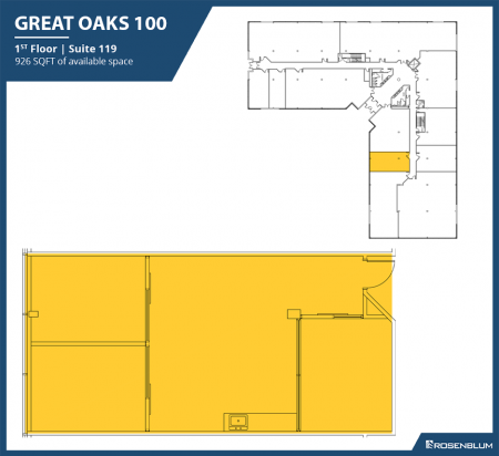 926 SF 1st Floor Office Space Floor Plan