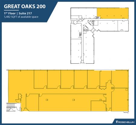 1,200–5,482 SF 1st Floor Office Space Floor Plan
