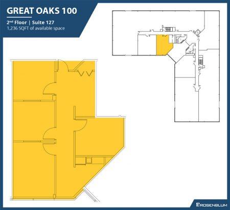 1,236 SF 2nd Floor Office Space Floor Plan